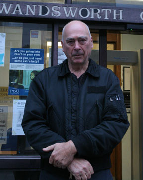 Dennis Jackson, 73, outside Wandsworth County Court this afternoon