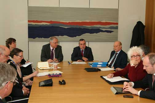 RTM meeting at Portcullis House. From left: Rob Plumb, HML Holdings plc; Neil Mulhoney, IRPM; Paula Hassall, DCLG; (Sebastian O'Kelly, taking picture); Katherine O'Riordan, aide to Sir Peter Bottomley; Sir Peter Bottomley MP; Martin Boyd, LKP / Campaign against retirement leasehold exploitation; Nigel Wilkins, Carl; Jim Fitzpatrick, MP Poplar and Limehouse; Cherry Jones, managing agent; Justin Tomlinson, Conservative MP Swindon North.