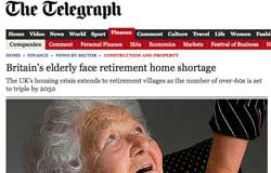 Telegraph reproduces press release over retirement housing
