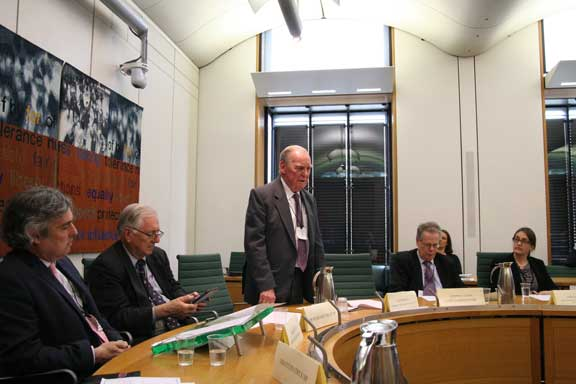 Bob Bessell makes his moving and persuasive speech to the LKP Westminster roundtable yesterday