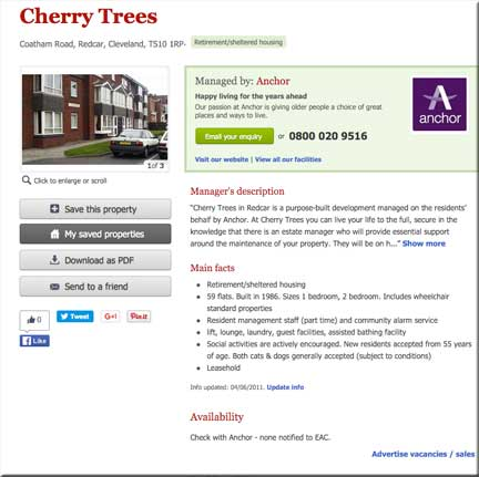 Cherry Trees as advertised by the Elderly Accommodation Counsel