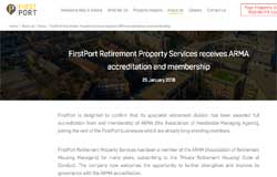 FirstPort Retirement is admitted to ARMA – finally