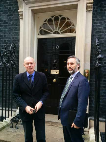 Sebastian O'Kelly and Martin Boyd outside 10 Downing Street this afternoon