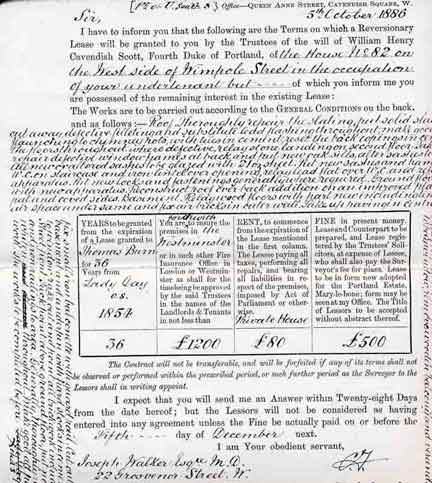 The lease of Victorian mystery writer Wilkie Collins at 82 Wimpole Street. Leases were invented by aristocratic landowners, the Duke of Portland in this case, to ensure that something as substantial as land ownership was not sold off to common people. Oddly enough, it has survived as a form of residential tenure only in England and Wales (after being rather violently ended in ireland; sensible Scotland never had it).